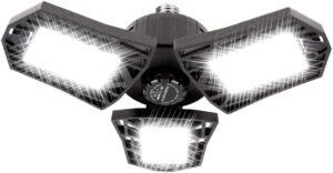 Deformable LED Garage Light - 6000 Lumen 6500K Daylight 60W, Three Leaf Garage Organization Ceiling Lighting